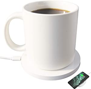 Wired Coffee Warmer self-heating mug 12oz beverage Warmer with Auto On/Off 24 Watt Warmer Plate Up To 55℃/131℉, Keeps Coffee Milk Tea Warm All Day