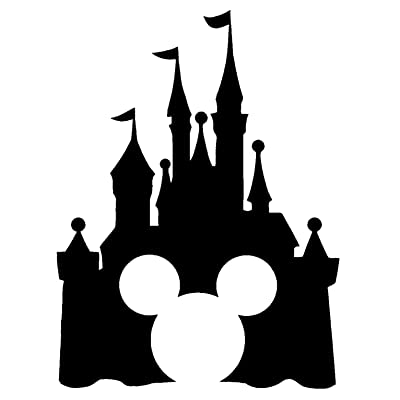 "Disney Style Castle with Mickey Inspired Vinyl Car Window Decal Sticker (6"", Black): Automotive"