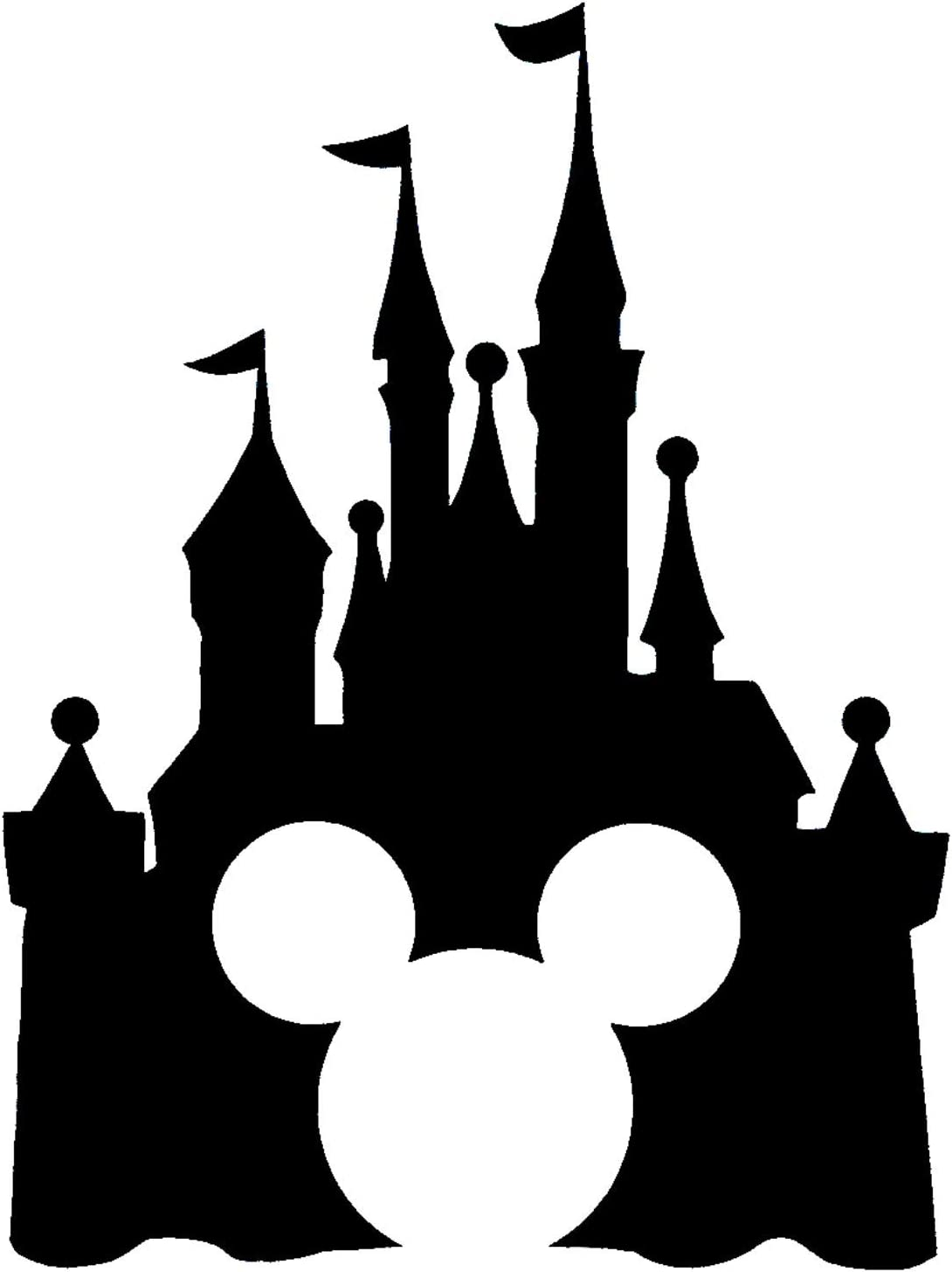 White Disney Style Mickey Head with Princess Castle Magic Kingdom Inspired Vinyl Car Window Decal Sticker