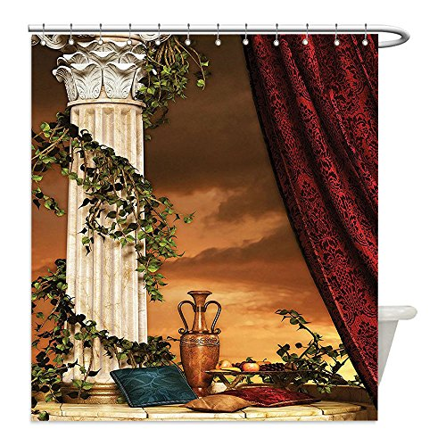 Diy Greek Goddess Costume (Liguo88 Custom Waterproof Bathroom Shower Curtain Polyester Gothic House Decor Greek Style Scene Climber Pillow Fruits Vine and Red Curtain Ancient Goddess Sunset Multicolor Decorative bathroom)