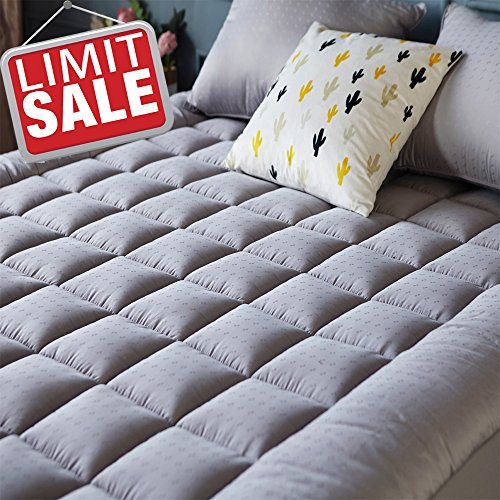 Mattress Pad Cover (King Size)- Cooling Mattress Topper with Thick Cotton 8-21-Inch Deep Pocket - Quilted Fitted Pillowtop by Sonoro Kate