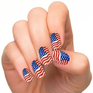 Nails Monster 24pcsset False Nail Art Free Glue Usa Flag Style