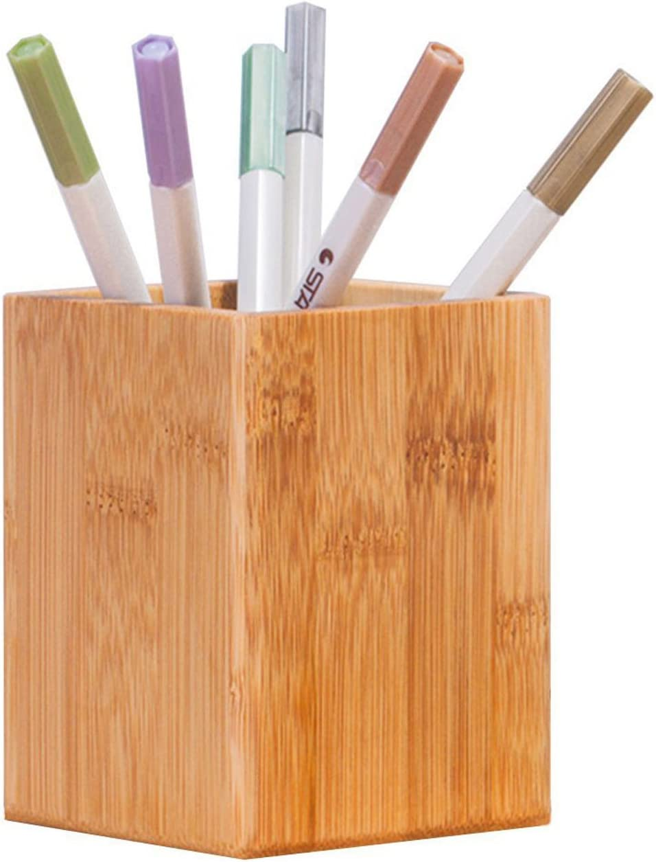 Bamboo Wood Desktop Pen Pencil Holder, Makeup Brush Cup, Office Supplies Organizer Caddy -Owlgift