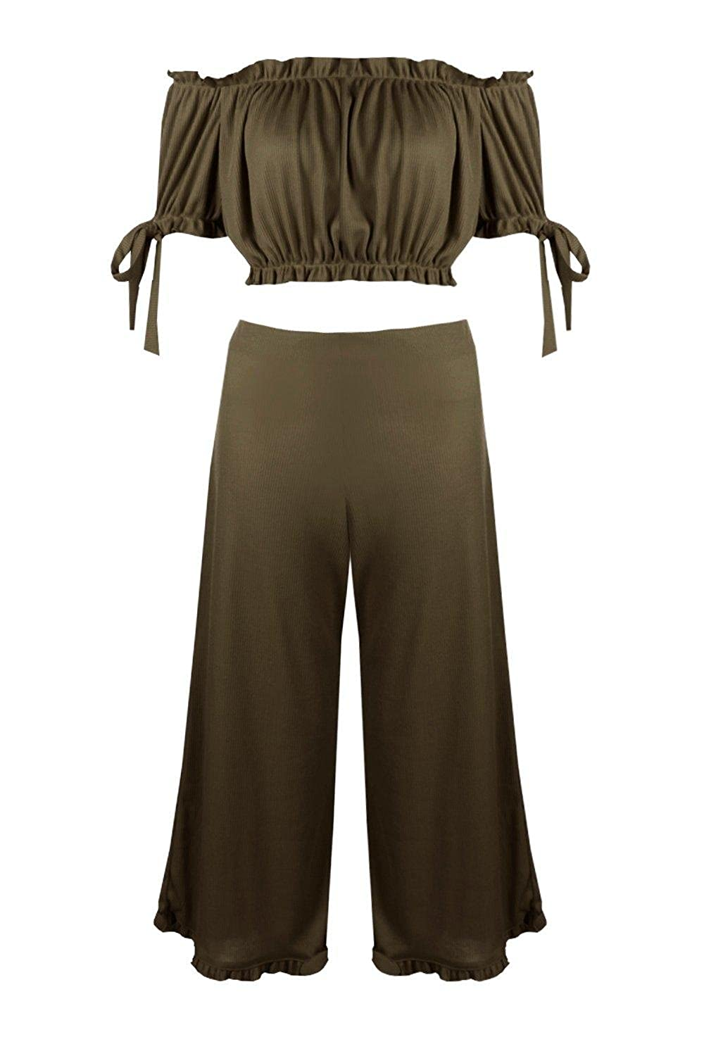 f6dcad71560 Boohoo Womens Lola Off Shoulder Crop & Frill Culotte Co-Ord Set in Khaki  size 2 at Amazon Women's Clothing store: