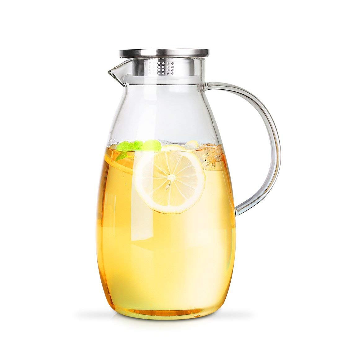 RED MAISON 68 Ounces Large Capacity Borosilicate Glass Water Pitcher with Lid, Glass Water Jug for Hot or Cold Water, Ice Tea and Juice Beverage (2000ml) (68oz with stainless lid)