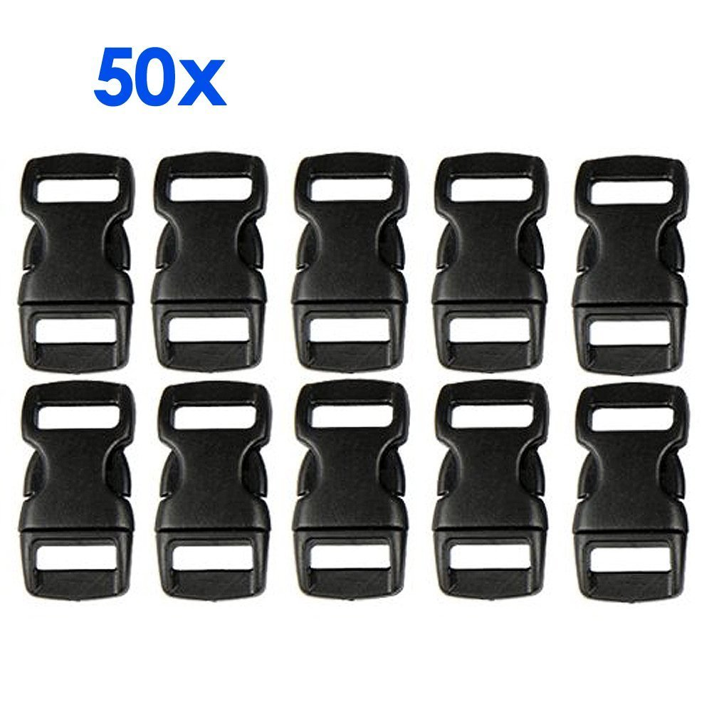 DierCosy 50 Black Plastic Contoured Side Release Buckles for Paracord Bracelets