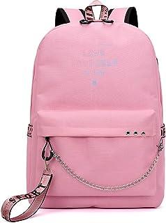 Kroy Pecoed Kpop BTS Bangtan garçons décontracté Sac à dos Sac à dos pour ordinateur portable Sac Sac d'école pour sac à bandoulière avec port de chargement USB Pink 2