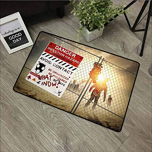 LOVEEO Outside Doormat,Zombie Decor Dead Man Walking Dark Danger Scary Scene Fiction Halloween Infection Picture,Customize Door mats for Home Mat,29