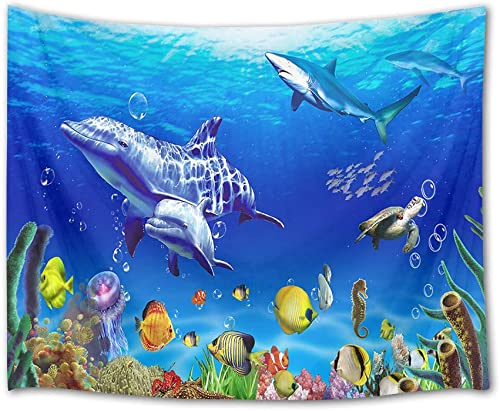 HVEST Marine Life Wall Tapestry Dolphin Shark Turtle and Fish Under Blue Sea Wall Hanging Ocean Tapestrie