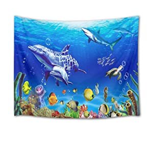 HVEST Marine Life Wall Tapestry Dolphin Shark Turtle and Fish Under Blue Sea Wall Hanging Ocean Tapestries for Kids Bedroom Living Room Dorm Wall Decor Birthday Party Background,80Wx60H inches