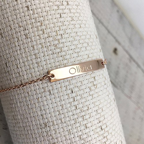Same Day Shipping before 3 p.m,Custom Name Bar Bracelet- Engraved Bracelet, Gold bracelet, Personalized jewelry,Birthday gift, Wedding gift gift for her,name bar,Mother's Day gift,