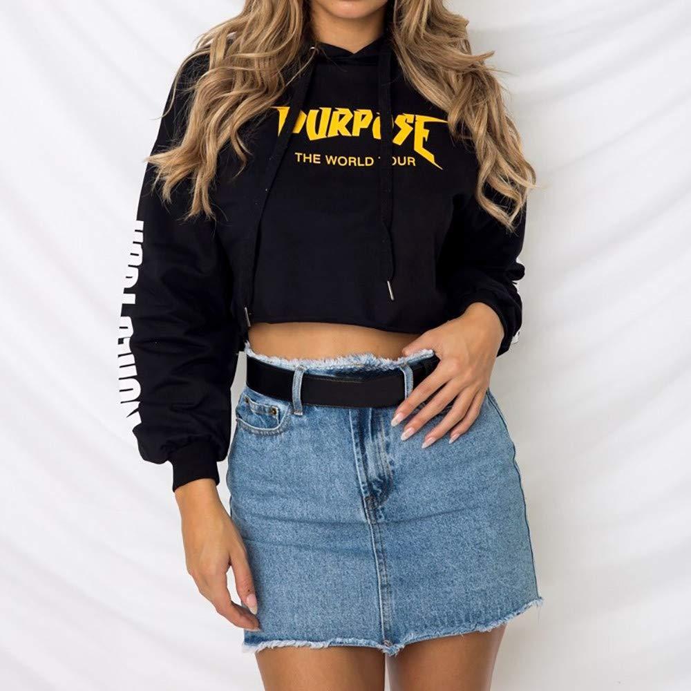 HYIRI Womens Long Sleeve Hoodie Sweatshirt Jumper Sweater Crop Tops Pullover at Amazon Womens Clothing store: