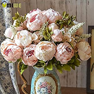 Silk Flowers Faux Peony - 13 Heads European Style Fake Artificial Peony Silk Decorative Party Flowers For Home Hotel Wedding Office Garden Décor - Spring Flowers Artificial 13