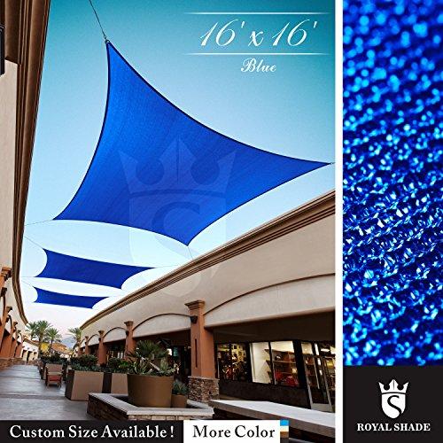 (Royal Shade 16' x 16' Blue Square Sun Shade Sail Canopy, 95% UV Blockage, Heavy Duty 200GSM, Custom Made Size)