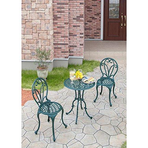 フロール カフェテーブル3点セット[軽量で扱いやすいアルミ鋳物製ガーデンテーブルセット] B013ONP4QY