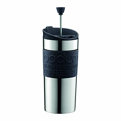 edcd3a3a236 BODUM Travel French Press Coffee Maker Set, Stainless Steel with Extra Lid,  Vacuum, 0.35 L/12 oz, Black
