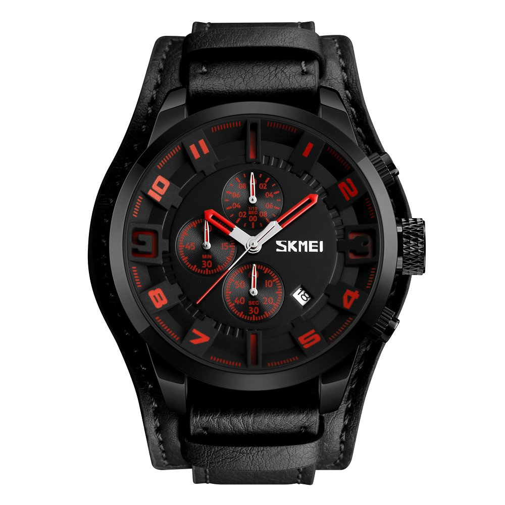 Mens Wide Leather Cuff Sport Wrist Watch Analog Quartz Classical Business Casual Watches for Men, Teens, Boys, 30M Waterproof, Calendar Date, Stop Watch . (Red Markers Black Strap)