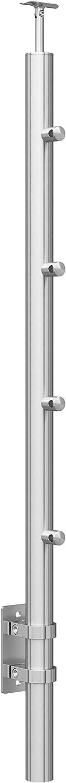 Edelstahl Gel/änder Pfosten mit 4x 12,0 Querstabhalter V2A Treppenpfosten MOD 0553 H/öhe verstellbar