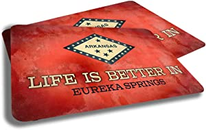 Brotherhood Life is Better in Eureka Springs Arkansas State Flag Cities Towns Grunge Rubber Grip Non Skid Backing Rug Indoor Entryway Door Rugs Mats Pack of 2