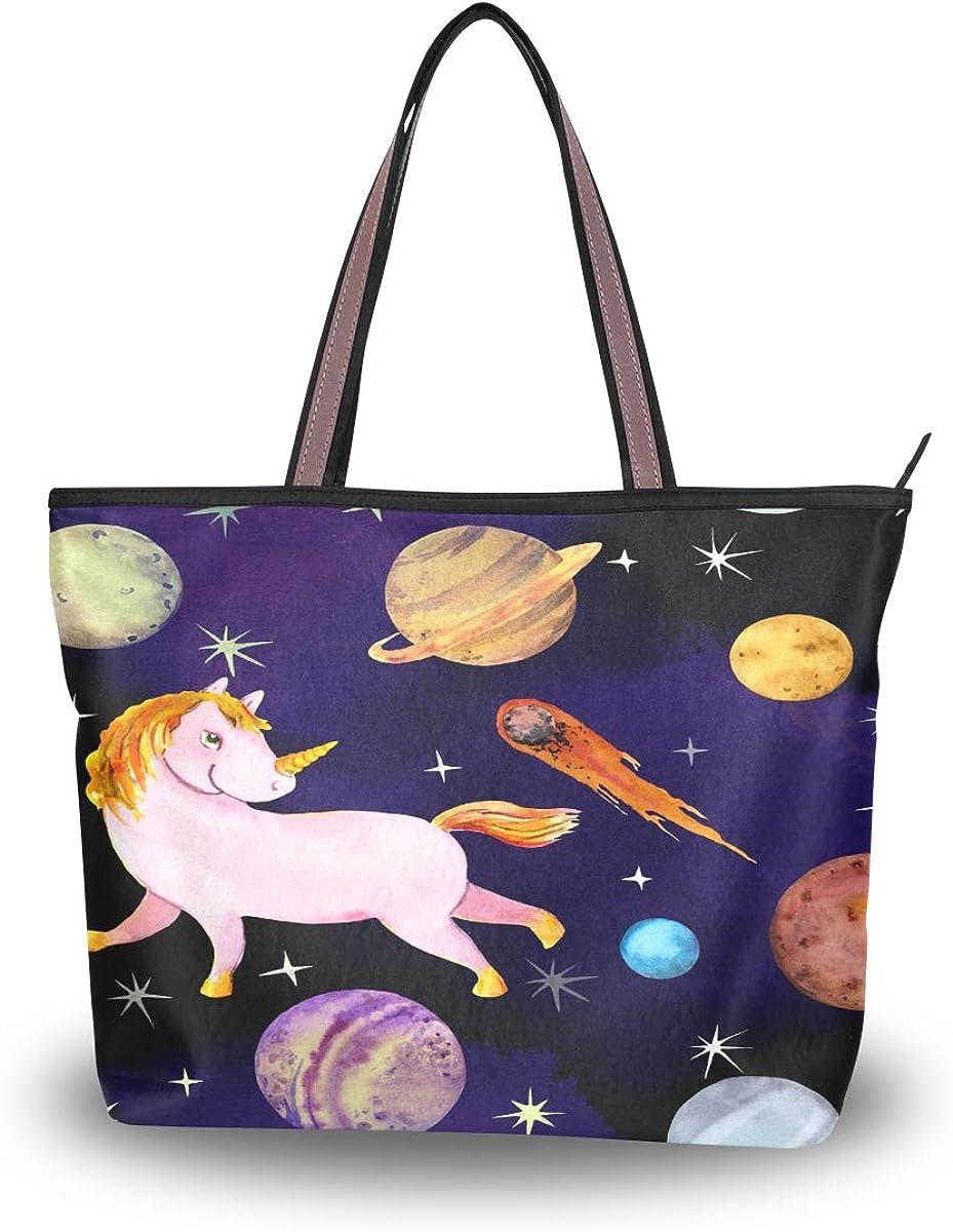 AUUXVA Cute Unicorn Space Print Handbags for Women Tote Bag Top Handle Shoulder Bag Satchel Purse