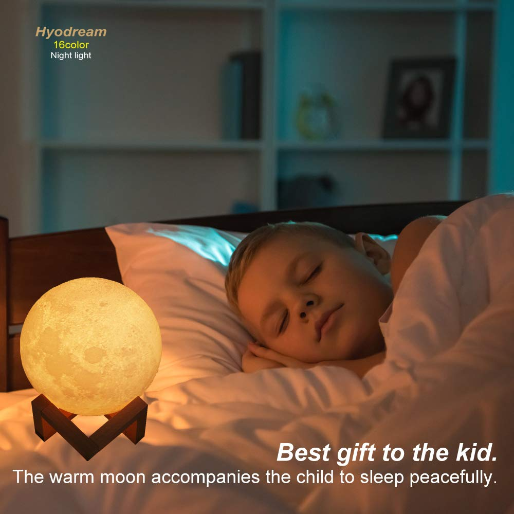 HYODREAM Moon Lamp Moon Light Night Light for Kids Gift for Women USB Charging and Touch and Remote Control Brightness 3D Printed 16colors Lamp (5.9 Inch Moon Light with Wooden Bracket) by HYODREAM (Image #5)