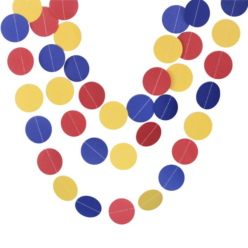 Mybbshower Paper Circle Garland in Red Blue Yellow for Children's Birthday Party Decoration Pack of 3 (10 Feet each) Total 30 feet by Mybbshower