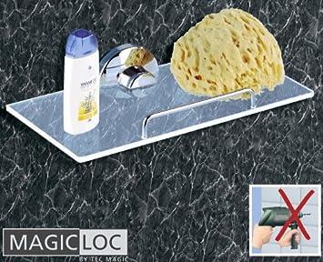 WENKO Magic Loc Badablage   Ohne Bohren   Acryl/Chrom   Bad Regal