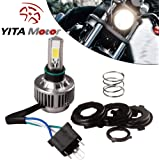 YITAMOTOR H4 COB LED Bulb HID White 360° Hi/Low Beam Motorcycle Headlight 6500K High Power