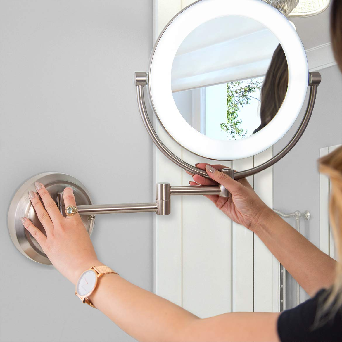 Zadro Dual Sided Surround Light Swivel Wall Mount Make Jerdon Mounted Mirror Wiring Diagram Up With 1x 10x Magnification Hardwire Ready Beauty