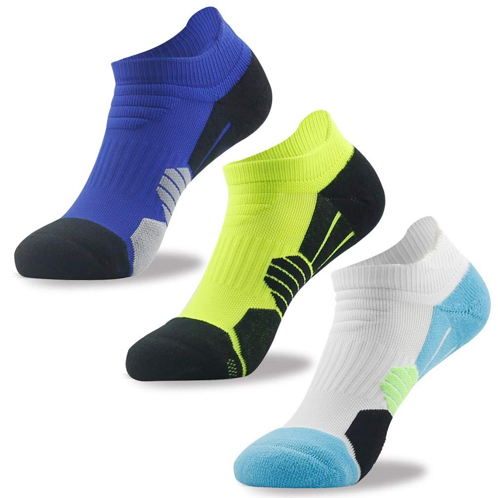 NIcool Men's Cushion Socks, Elite Ultralight Cushioned Moisture Wicking Low Cut Tab Athletic Running Sports No Show Socks, 3 Pairs, Blue & Green & White by NIcool