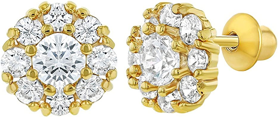 5mm 18K Yellow Gold Flower with Blue Cubic Zirconia Screwback earrings
