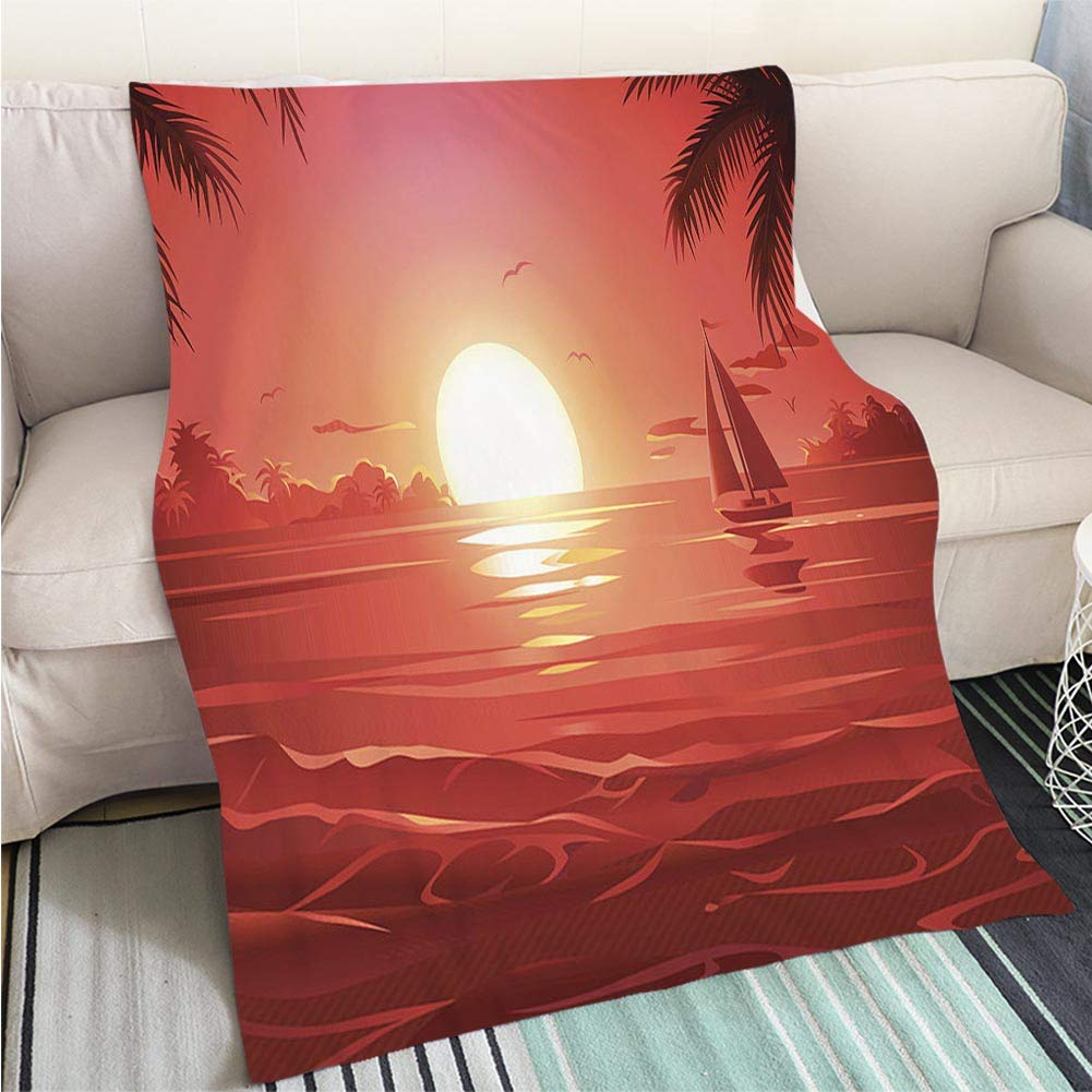 color16 47 x 59in BEICICI Art Design Photos Cool Quilt Sunset sea Waves Fun Design All-Season Blanket Bed or Couch