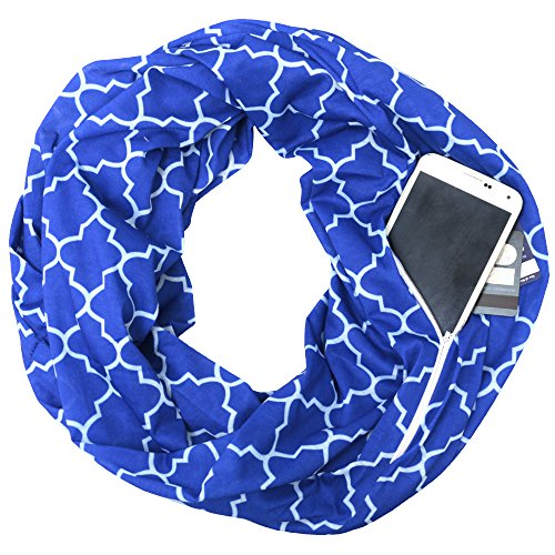 Womens Infinity Scarf w/Zipper Pocket & Pattern Print, Infinity Scarves -Royal Blue Scarf