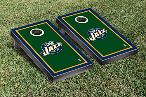 Utah Jazz NBA Basketball Cornhole Game Set Border Version by Victory Tailgate