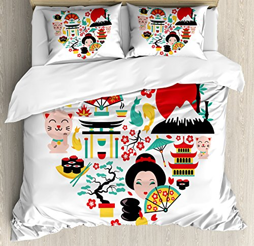 (Ambesonne Japanese Duvet Cover Set Queen Size, The Land of The Rising Sun Culture Bonsai Tree Fuji Mountain Tea Sushi Zen Design, Decorative 3 Piece Bedding Set with 2 Pillow Shams, Multicolor)