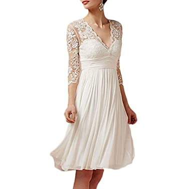 Fishlove Vintage vestido de novia Short Sheer Lace Chiffon Wedding Dresses With Sleeves W11