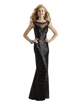 Amazon.com: Long Black Sequin Formal, Prom or Evening Dress 2310 ...
