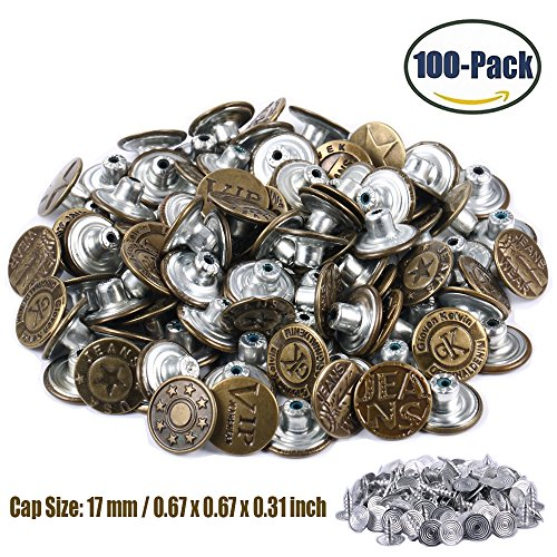 Jeans Buttons Metal Tack Buttons Replacement Kit 100 Pieces 17mm Button Studs with 10 Styles Bronze by FENGWANGLI (Button Antique Small)