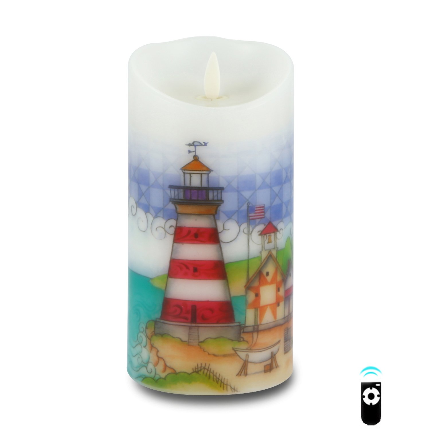 Ksperway Flameless Wax Candles, Moving Wick LED Pillar Candle with Blow ON/Off Control,Timer and Remote 3.5 by 7 Inch Picture (Lighthouse) by Ksperway (Image #2)