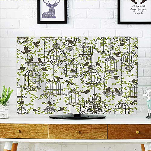 - Cover for Wall Mount tv ique Lovely Birdcages Ivy Leaf Love Couple Escape Freedom Modern Cover Mount tv W30 x H50 INCH/TV 52