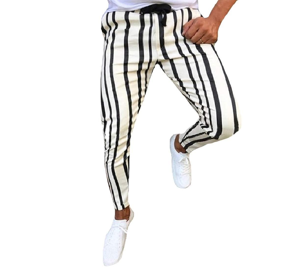AngelSpace Mens Striped Slim Fit Fashion Elastic Waist Harem Tenths Pants