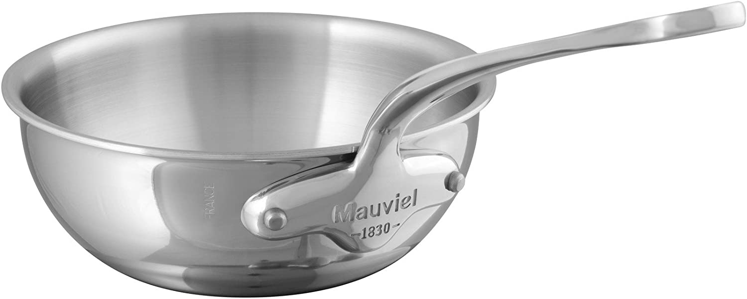 """Mauviel M Cook 24CM CAST SS HDL 2.6MM Curved splayed saute pan, 24"""", Stainless Steel"""