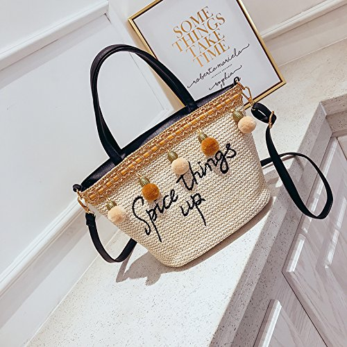 Basket Bag Summer Small Bag Black Black GAOQQ Crossbody Female Straw Fashion Shoulder Bag Embroidery Woven Fairy BHAPq1nwx
