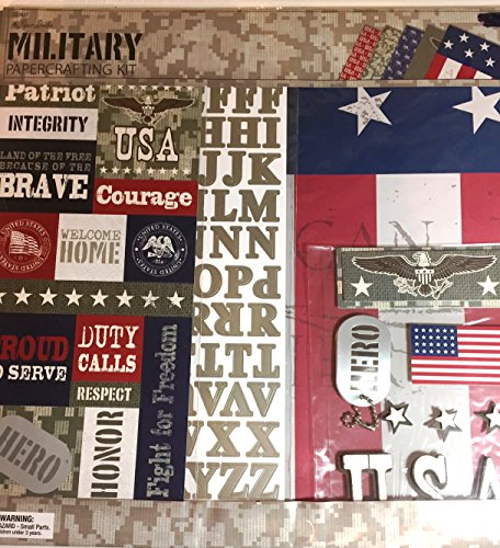 Scrapbooking Kit 12 Page (Military 12x12 Scrapbooking Page Kit, 13 pcs. Hero, USA, Brave, Courage, Duty Calls)