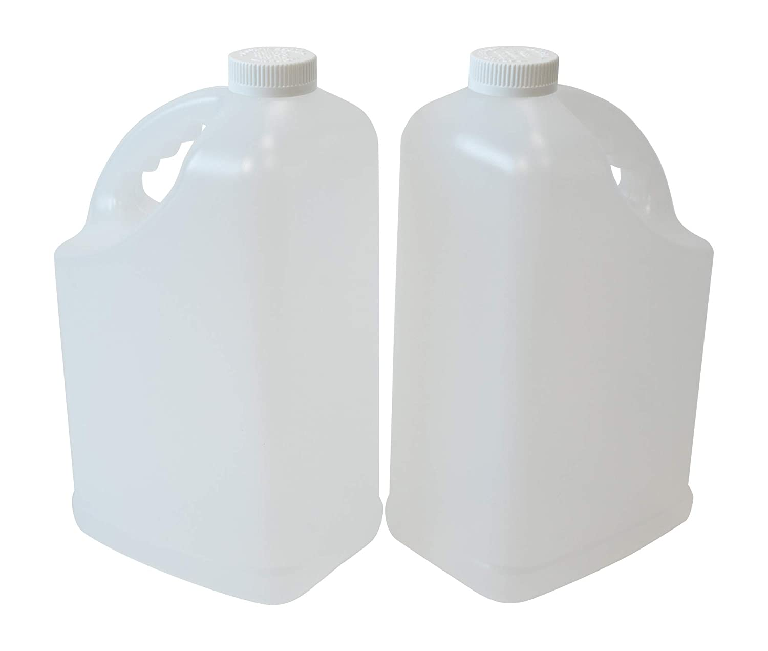 CSBD Slanted F-Style Clear Plastic Jugs with Child Resistant Lids, 2 Pack, Storage Containers with Ergonomic Handle, HDPE Construction for Residential or Commercial Use, 1 Gallon