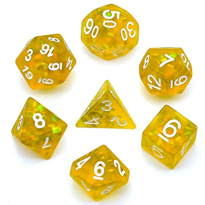 cusdie Frosted Dice Polyhedral Dice Sets DND for Dungeons and Dragons(D&D) Role Playing Game(RPG) MTG Pathfinder Table Game Dice(Yellow): Sports & Outdoors