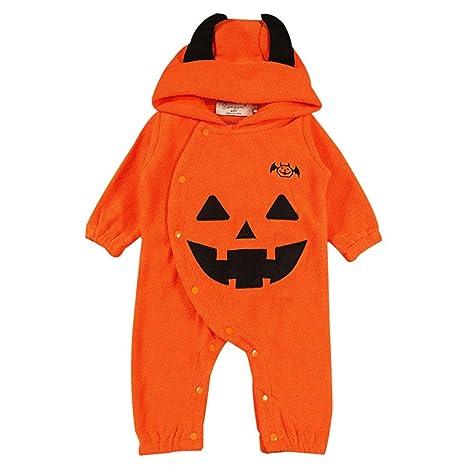Vine Bebé Traje de Halloween Peleles Calabaza Mameluco con Capucha Fleece Monos Manga Larga Ropa de