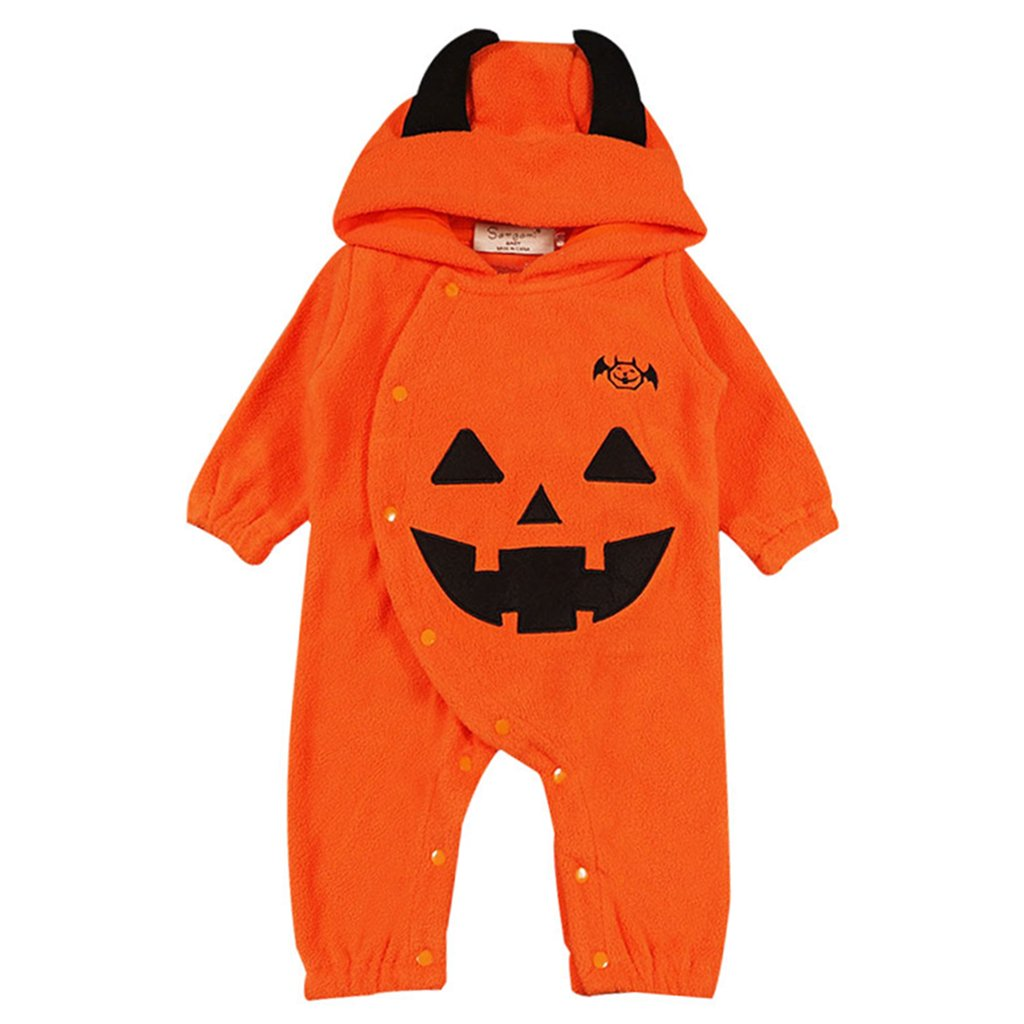 Baby Hooded Rompers Halloween Long Sleeve Jumpsuit Pumpkin Costumes Fleece Outfit Vine Trading Co. Ltd C170824HY001V