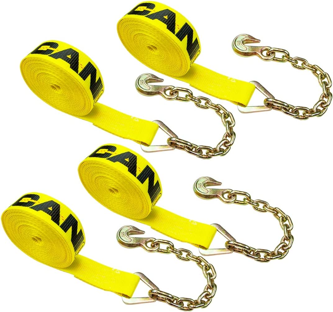 VULCAN Winch Strap with Chain Anchor 4 Pack Classic Yellow 2 Inch x 27 Foot 3,300 Pound Safe Working Load