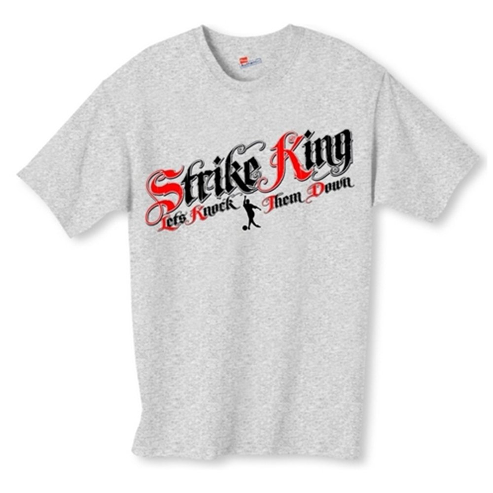 Strike King Bowling T-Shirt- Gray (Small, Gray) by Bowlerstore Products